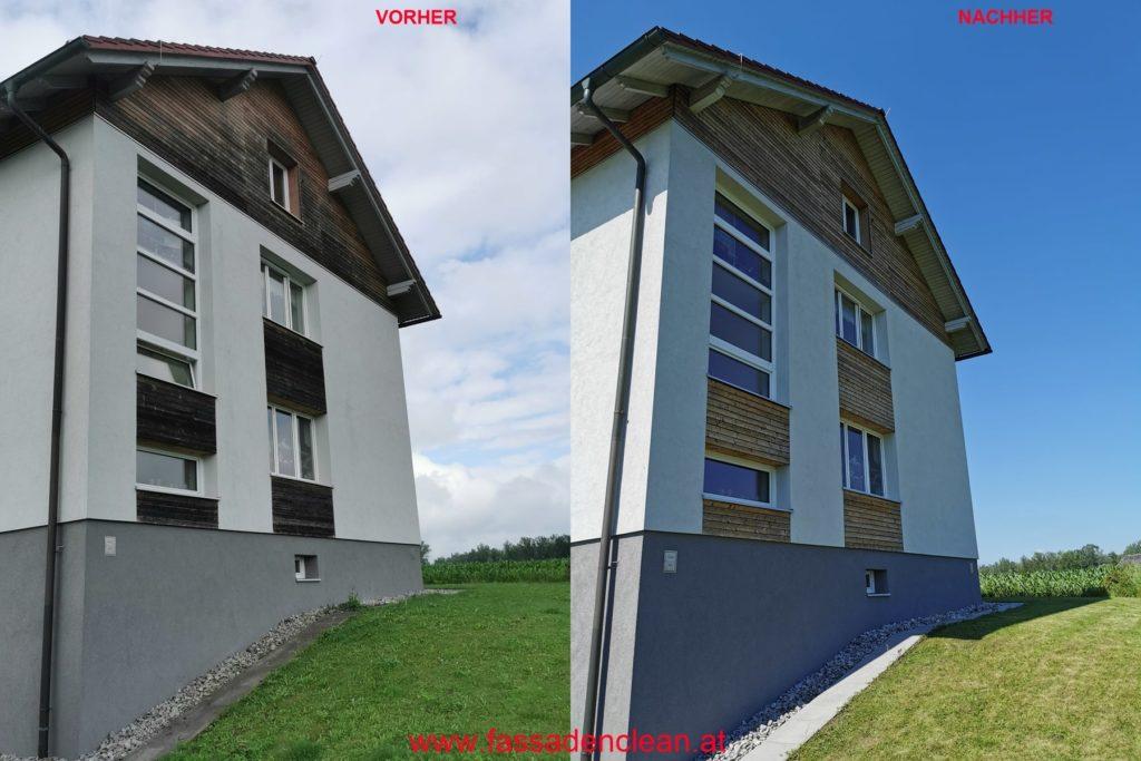 Fassaden-Reinigung Hausfassade direkter Vergleich vorher nachher